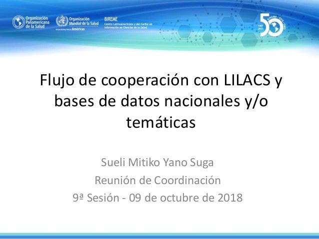 Flujo de cooperación con LILACS y bases de datos nacionales y/o temáticas Sueli Mitiko Yano Suga Reunión de Coordinación 9...