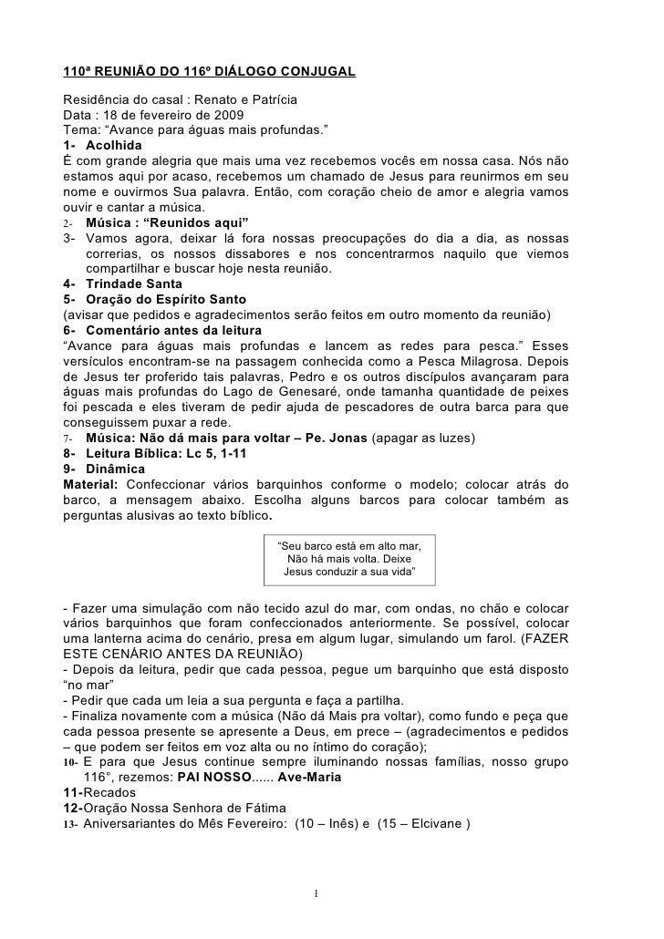 """110ª REUNIÃO DO 116º DIÁLOGO CONJUGAL  Residência do casal : Renato e Patrícia Data : 18 de fevereiro de 2009 Tema: """"Avanc..."""