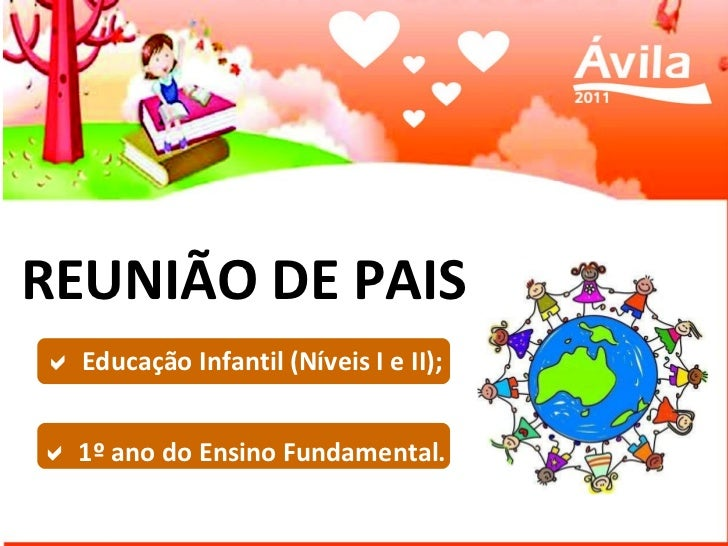 REUNIÃO DE PAIS    Educação Infantil (Níveis I e II);    1º ano do Ensino Fundamental.
