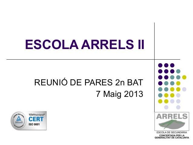 ESCOLA ARRELS IIREUNIÓ DE PARES 2n BAT7 Maig 2013