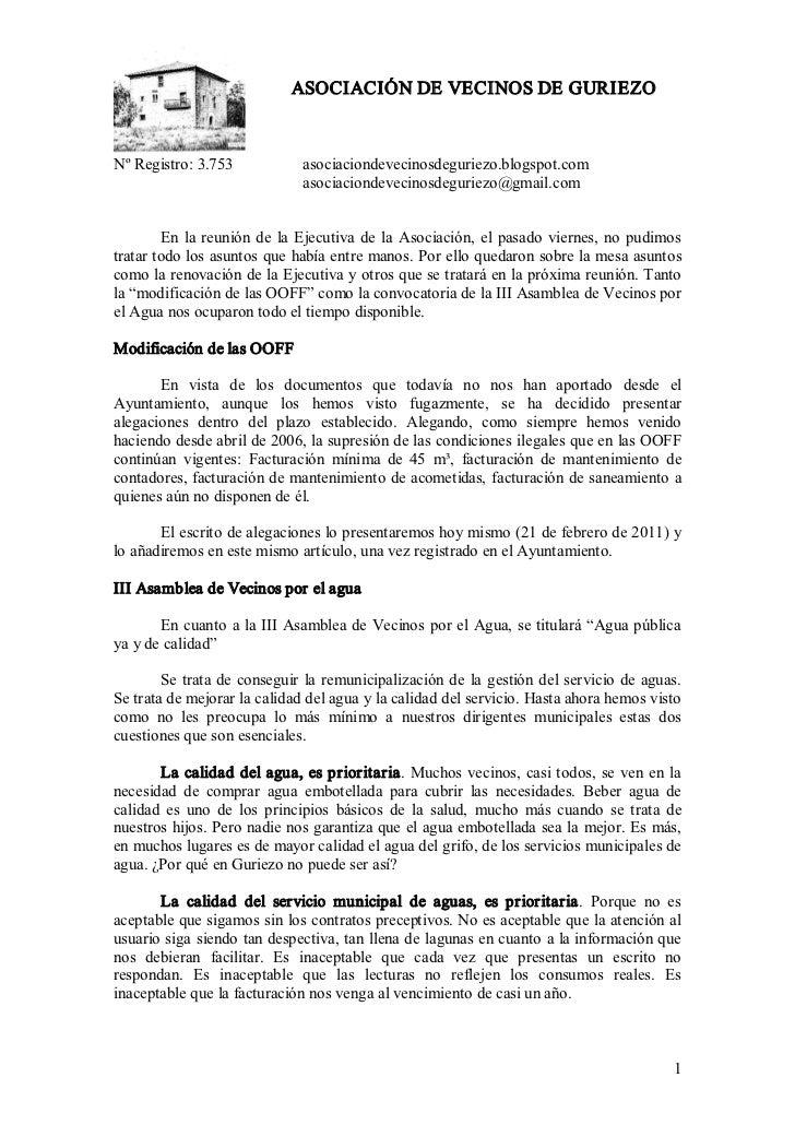 ASOCIACIÓNDEVECINOSDEGURIEZONºRegistro:3.753             asociaciondevecinosdeguriezo.blogspot.com               ...