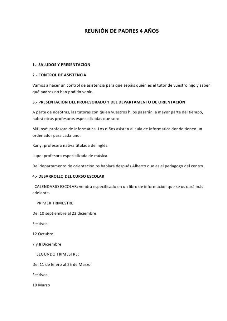 REUNIÓN DE PADRES 4 AÑOS1.- SALUDOS Y PRESENTACIÓN2.- CONTROL DE ASISTENCIAVamos a hacer un control de asistencia para que...