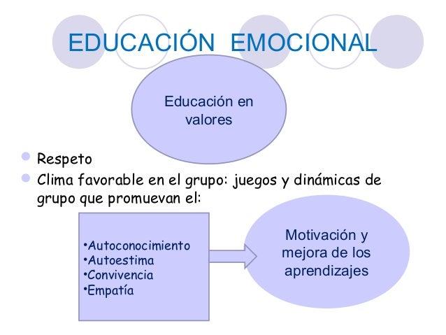 EDUCACIÓN EMOCIONAL Respeto Clima favorable en el grupo: juegos y dinámicas de grupo que promuevan el: Educación en valo...