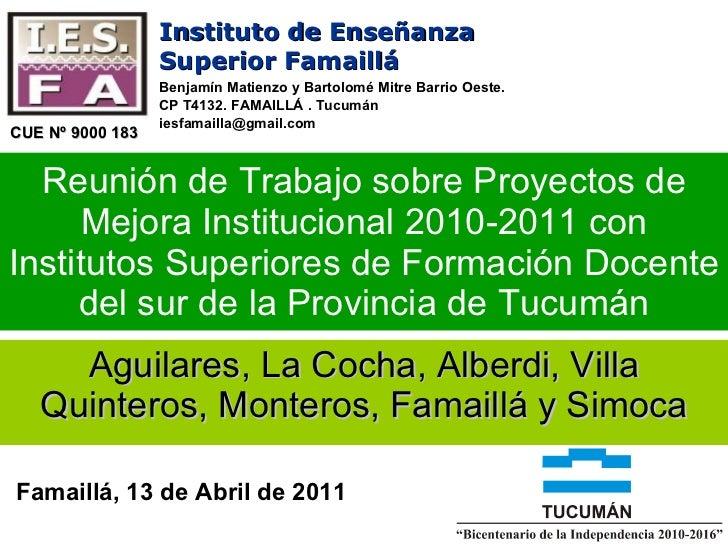 Aguilares, La Cocha, Alberdi, Villa Quinteros, Monteros, Famaillá y Simoca Reunión de Trabajo sobre Proyectos de Mejora In...