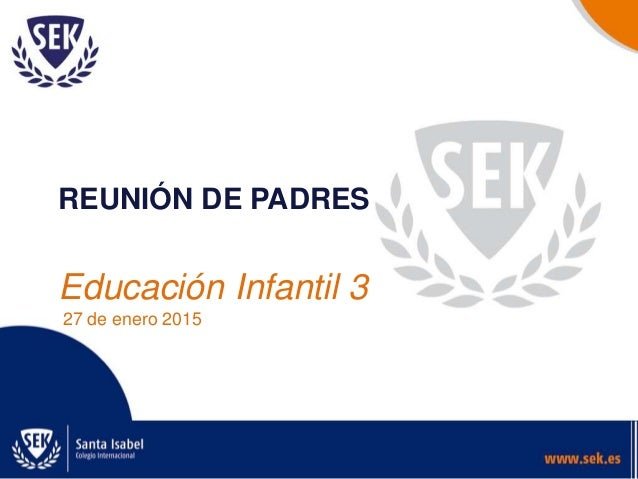 REUNIÓN DE PADRES Educación Infantil 3 27 de enero 2015