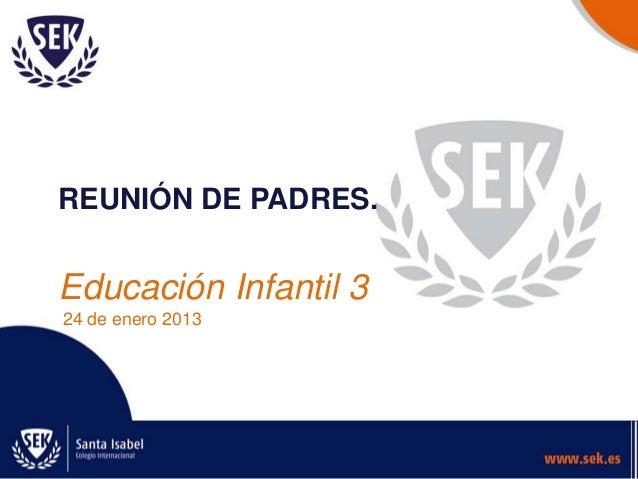 REUNIÓN DE PADRES.  Educación Infantil 3 24 de enero 2013