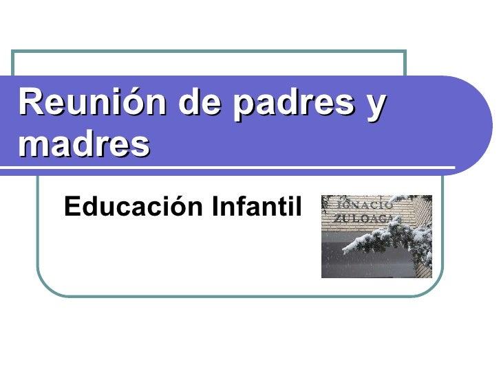 Reunión de padres y madres Educación Infantil