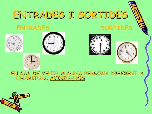 ENTRADES I SORTIDES ENTRADES                  SORTIDESEN CAS DE VENIR ALGUNA PERSONA DIFERENT A  L'HABITUAL AVISEU-NOS