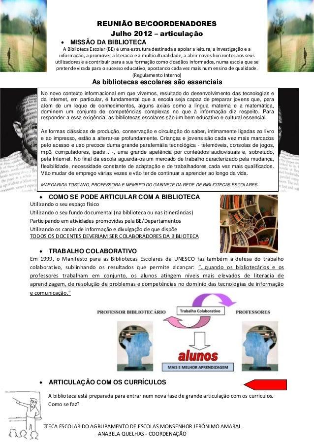 BIBLIOTECA ESCOLAR DO AGRUPAMENTO DE ESCOLAS MONSENHOR JERÓNIMO AMARAL ANABELA QUELHAS - COORDENAÇÃO REUNIÃO BE/COORDENADO...