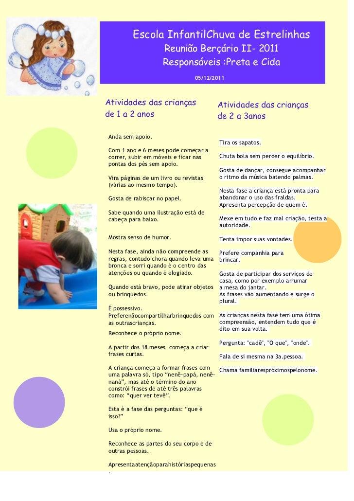 Escola InfantilChuva de Estrelinhas                      Reunião Berçário II- 2011                      Responsáveis :Pret...