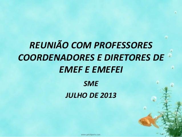 REUNIÃO COM PROFESSORES COORDENADORES E DIRETORES DE EMEF E EMEFEI SME JULHO DE 2013