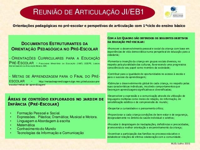 REUNIÃO DE ARTICULAÇÃO JI/EB1 DOCUMENTOS ESTRUTURANTES DA ORIENTAÇÃO PEDAGÓGICA NO PRÉ-ESCOLAR - ORIENTAÇÕES CURRICULARES ...