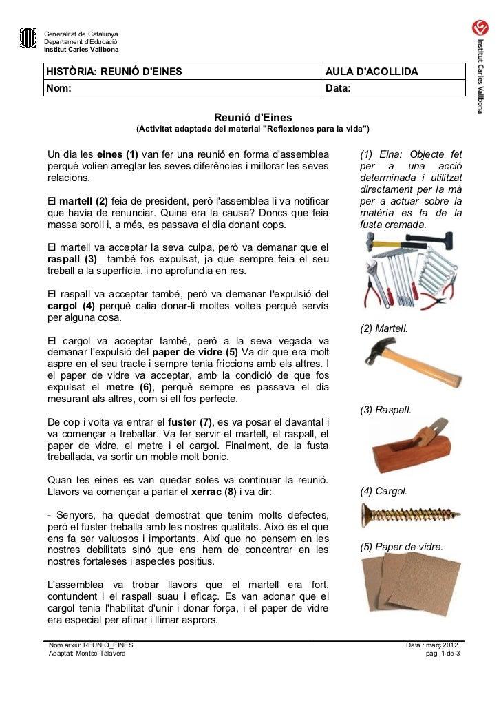 Generalitat de CatalunyaDepartament d'EducacióInstitut Carles VallbonaHISTÒRIA: REUNIÓ DEINES                             ...