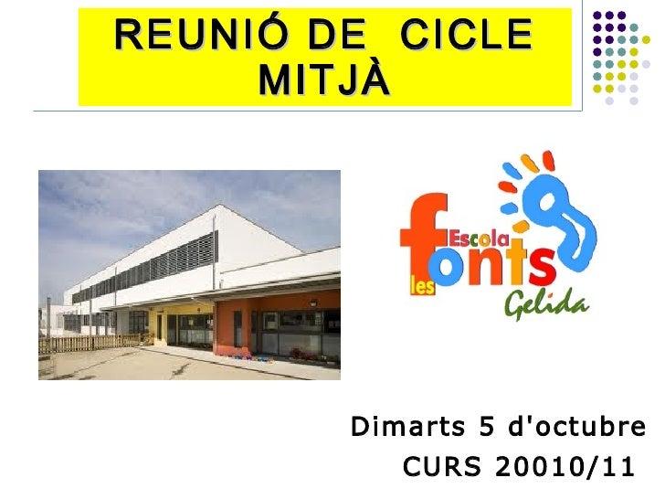REUNIÓ DE CICLE      MITJÀ             Dimarts 5 d'octubre            CURS 20010/11