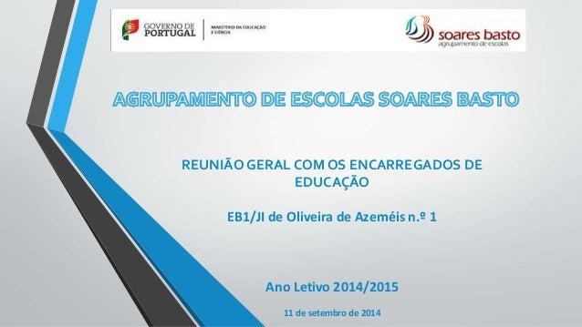 REUNIÃO GERAL COM OS ENCARREGADOS DE  EDUCAÇÃO  EB1/JI de Oliveira de Azeméis n.º 1  Ano Letivo 2014/2015  11 de setembro ...