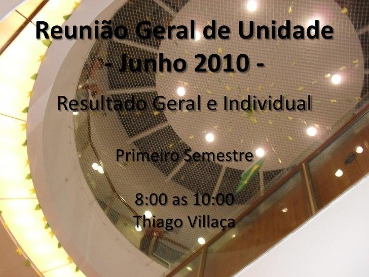 Reunião Geral de Unidade      - Junho 2010 -  Resultado Geral e Individual         Primeiro Semestre           8:00 as 10:...
