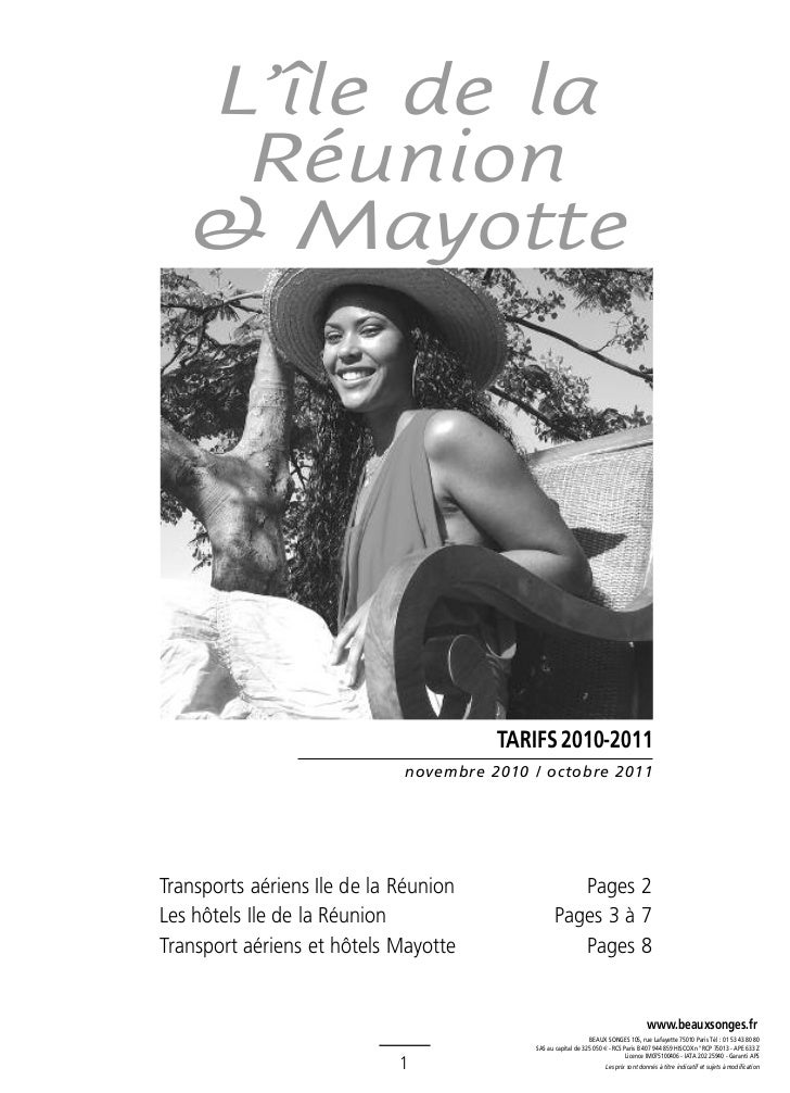 L'île de la    Réunion   & Mayotte                                       TARIFS 2010-2011                             nove...
