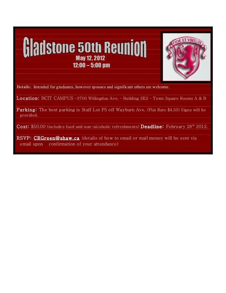 Gladstone 50th Reunion