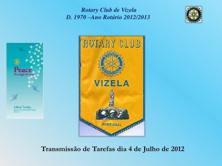 Rotary Club de Vizela       D. 1970 –Ano Rotário 2012/2013Transmissão de Tarefas dia 4 de Julho de 2012