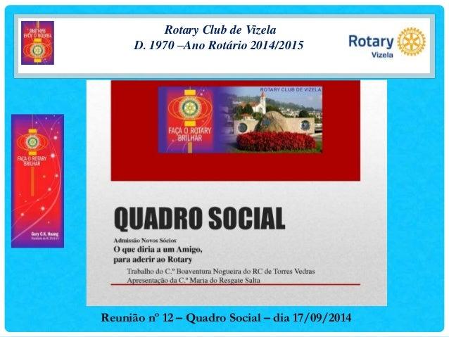 Rotary Club de Vizela  D. 1970 –Ano Rotário 2014/2015  Reunião nº 12 – Quadro Social – dia 17/09/2014