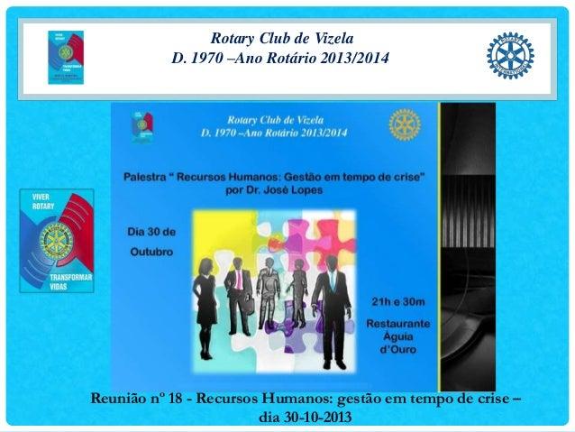 Rotary Club de Vizela D. 1970 –Ano Rotário 2013/2014  Reunião nº 18 - Recursos Humanos: gestão em tempo de crise – dia 30-...