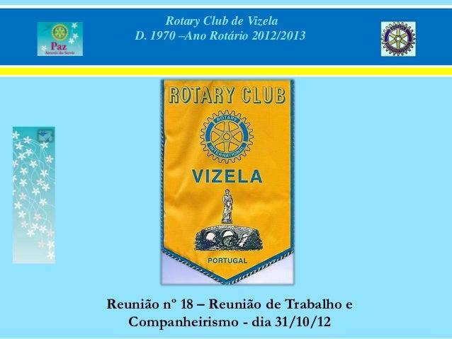 Rotary Club de Vizela    D. 1970 –Ano Rotário 2012/2013Reunião nº 18 – Reunião de Trabalho e   Companheirismo - dia 31/10/12