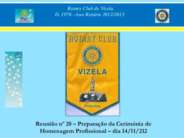 Rotary Club de Vizela       D. 1970 –Ano Rotário 2012/2013Reunião nº 20 – Preparação da Cerimónia de Homenagem Profissiona...