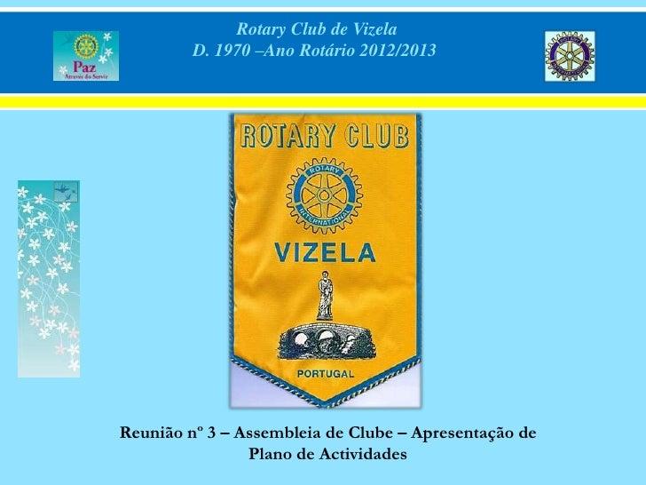 Rotary Club de Vizela         D. 1970 –Ano Rotário 2012/2013Reunião nº 3 – Assembleia de Clube – Apresentação de          ...