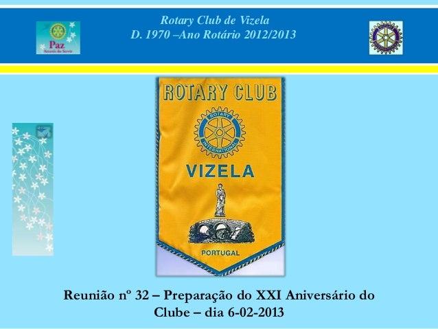 Rotary Club de Vizela          D. 1970 –Ano Rotário 2012/2013Reunião nº 32 – Preparação do XXI Aniversário do             ...