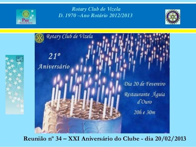 Rotary Club de Vizela            D. 1970 –Ano Rotário 2012/2013Reunião nº 34 – XXI Aniversário do Clube - dia 20/02/2013