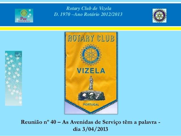 Rotary Club de VizelaD. 1970 –Ano Rotário 2012/2013Reunião nº 40 – As Avenidas de Serviço têm a palavra -dia 3/04/2013