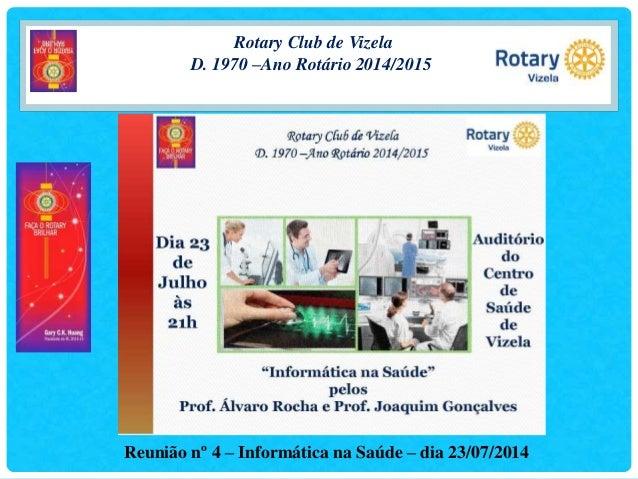 Rotary Club de Vizela D. 1970 –Ano Rotário 2014/2015 Reunião nº 4 – Informática na Saúde – dia 23/07/2014