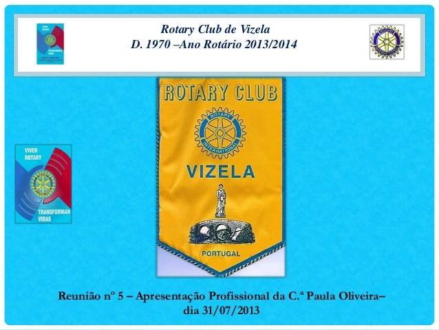 Rotary Club de Vizela D. 1970 –Ano Rotário 2013/2014 Reunião nº 5 – Apresentação Profissional da C.ª Paula Oliveira– dia 3...