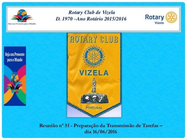 Rotary Club de Vizela D. 1970 –Ano Rotário 2015/2016 Reunião nº 51 - Preparação da Transmissão de Tarefas – dia 16/06/2016