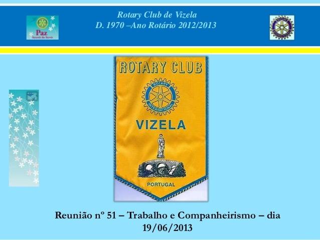Rotary Club de Vizela D. 1970 –Ano Rotário 2012/2013 Reunião nº 51 – Trabalho e Companheirismo – dia 19/06/2013