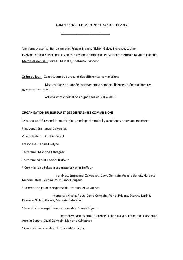 COMPTE RENDU DE LA REUNION DU 8 JUILLET 2015 _____________________________ Membres présents : Benoit Aurélie, Prigent Fran...