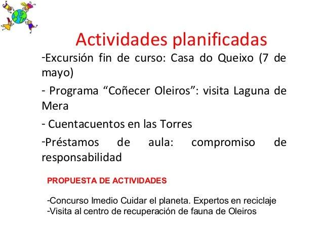 """Actividades planificadas-Excursión fin de curso: Casa do Queixo (7 demayo)- Programa """"Coñecer Oleiros"""": visita Laguna deMe..."""