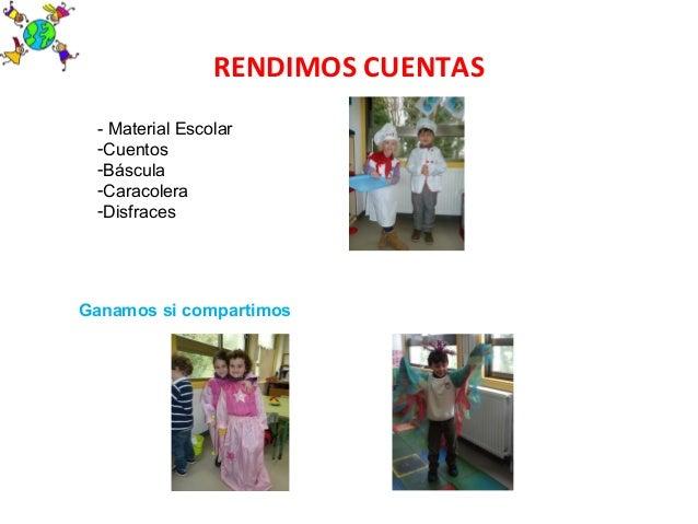 RENDIMOS CUENTAS- Material Escolar-Cuentos-Báscula-Caracolera-DisfracesGanamos si compartimos