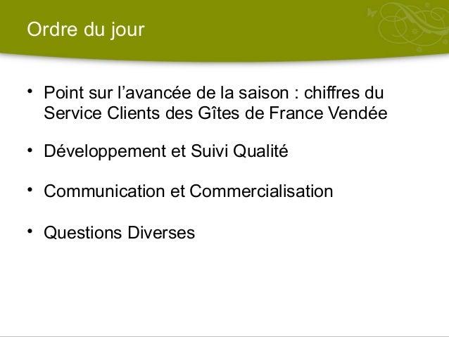 Réunion de secteur Gîtes (Gîtes de France Vendée) 28.05.2015 Slide 2