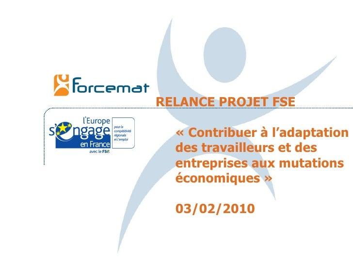 RELANCE PROJET FSE «Contribuer à l'adaptation des travailleurs et des entreprises aux mutations économiques» 03/02/2010