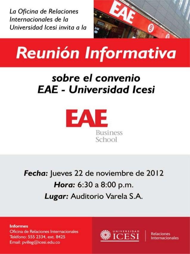 Reunion informativa convenio EAE- Universidad ICESI
