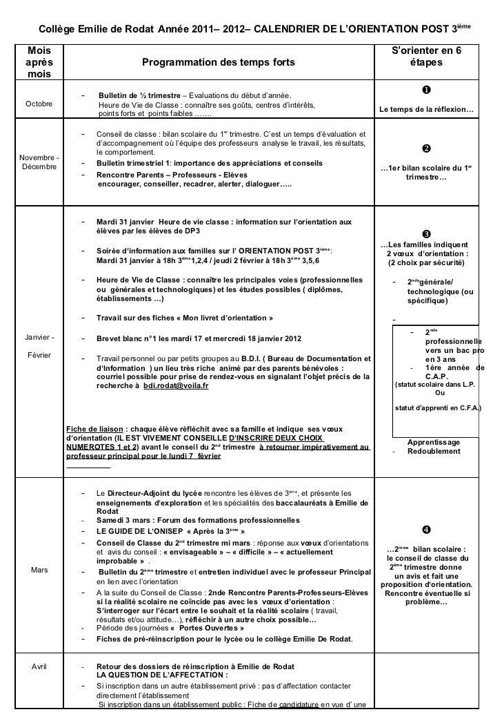 Reunion info orientati on parents janv 2009 calendrier orientation 3iè année 2008 2009