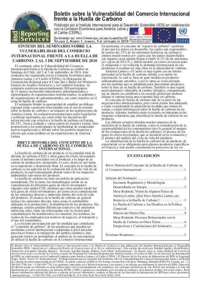 Boletín sobre la Vulnerabilidad del Comercio Internacional                                       frente a la Huella de Car...