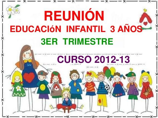 REUNIÓNEDUCACIóN INFANTIL 3 AÑOS     3ER TRIMESTRE        CURSO 2012-13