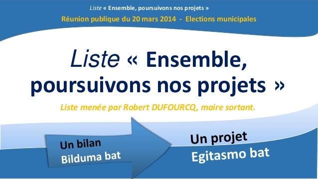 Liste « Ensemble, poursuivons nos projets » Liste « Ensemble, poursuivons nos projets » Liste menée par Robert DUFOURCQ, m...