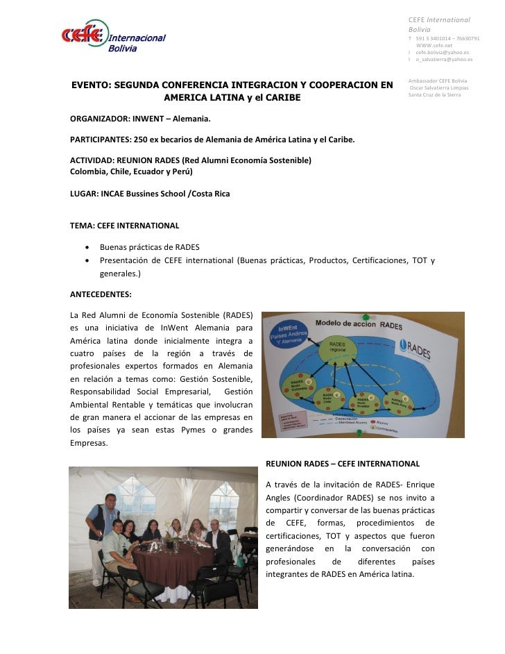 CEFE International                                                                                         Bolivia        ...