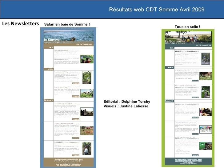 Les Newsletters Résultats web CDT Somme Avril 2009 Tous en selle! Editorial : Delphine Torchy Visuels : Justine Labesse S...