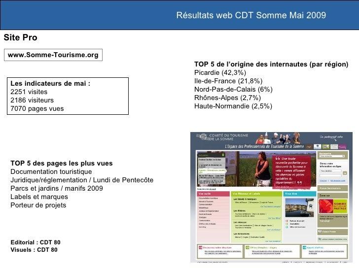 Résultats web CDT Somme Mai 2009 Site Pro Les indicateurs de mai :  2251 visites 2186 visiteurs 7070 pages vues www.Somme-...