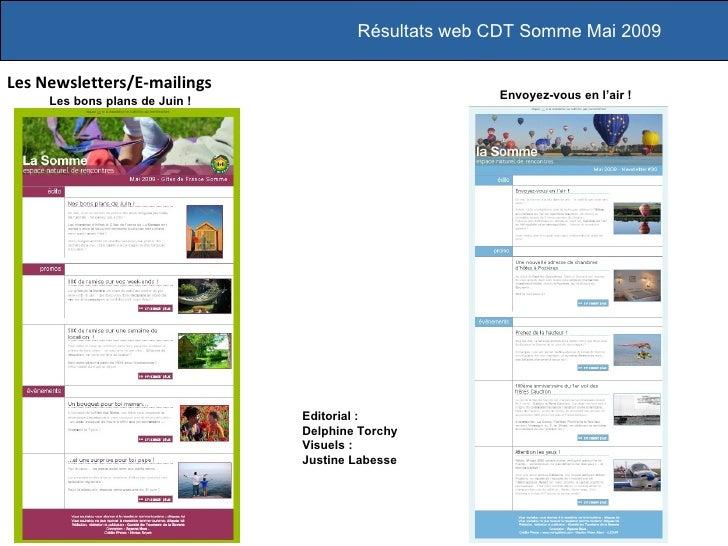 Les Newsletters/E-mailings Résultats web CDT Somme Mai 2009 Envoyez-vous en l'air! Editorial :  Delphine Torchy Visuels :...