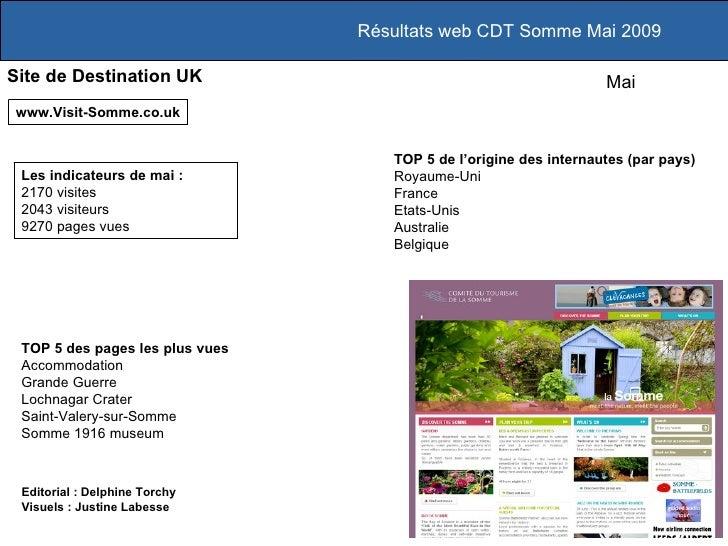 Résultats web CDT Somme Mai 2009 Site de Destination UK www.Visit-Somme.co.uk TOP 5 des pages les plus vues Accommodation ...